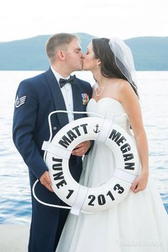 Perfect touch for a nautical wedding!!  Personalized Buoy Ring for Nautical Wedding by CraftedForYouByMeg on Etsy