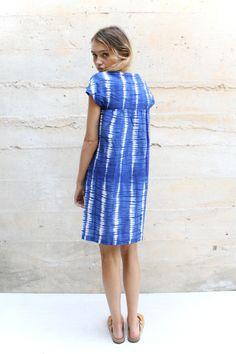 Staz wears the Tie-Dye Beach Dress in Indigo.