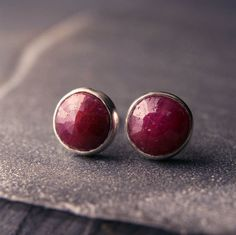 Sterling silver and rose cut ruby earrings 6mm  by hartleystudio, $65.00