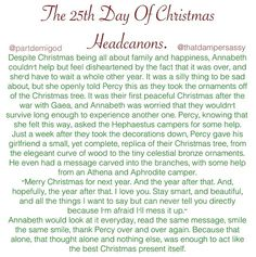 Christmas Headcanon 25, Merry Christmas to all you demigods out there!