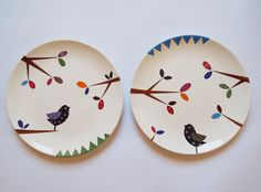 Bird series - Composition of two wall hanging plates