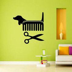 Creative Vinyl Wall Art Sticker Pet Shop Pet Grooming Salon Cat Dog Scissors Comb Wall Decals Decoration