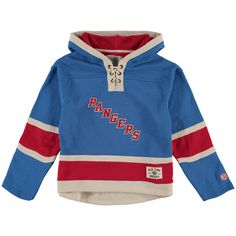 New York Rangers Old Time Hockey Youth Current Lacer Heavyweight Hoodie - Royal - $67.99