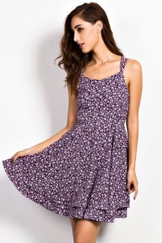 Women Sleeveless Floral Print Backless Flare Dress - OASAP.com