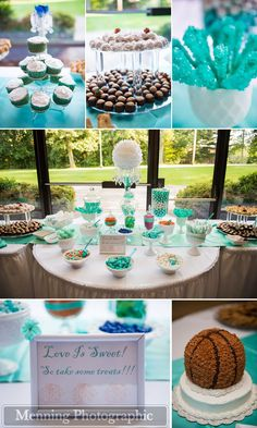 tiffany blue wedding details. tiffany blue decor. teal sweets and candy table. basketball groom's cake.