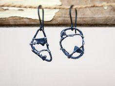 Sterling silver scrap earrings  freeform by AlexMalexDesigns