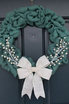 Turquoise Blue Burlap Wreath by ColumbusCircle on Etsy