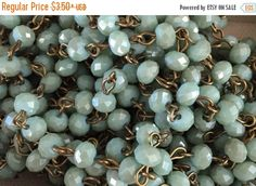 SALE American Artisan assembled Handmade Beaded Chain opaque Pale Aqua roundel 6x4 mm Faceted Crystal Beads
