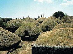 There are about 2000 tombs at the Etruscan Necropoli della Banditaccia in the Valley of Cerbeteri. Attracted by the mineral wealth found in the regions of Tuscany, Lazio and Umbria, the Etruscans made their way to Italy around 900 BCE. Traces of Etruscan civilization can be found in their burial sites and in the artifacts found in their tombs. They were preoccupied with the afterlife and dedicated much effort in building burial sites carved into rock or constructed from stone slabs.