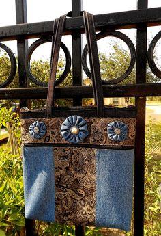 Black & Blue Yo-Yo Shoulder Bag (medium). $26.00, via Etsy. Tote Purse