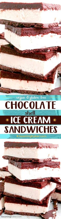 Chocolate Shell Vegan Ice Cream Sandwiches: A chocolate shell twist on a classic frozen dessert. A thick layer of raw cashew ice cream sandwiched between two layers of homemade chocolate shell. http://BeamingBaker.com #Vegan #GlutenFree