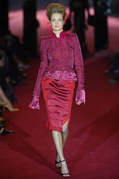 Tom Ford for Yves Saint Laurent Fall 2004 Runway Red Silk Jacket image 2