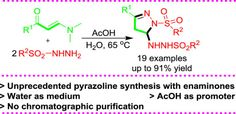 Water-acetic acid mediated chemoselective synthesis of pyrazolines via multimolecular domino reactions of enaminones and sulfonyl hydrazines https://doi.org/10.1016/j.tet.2017.03.019