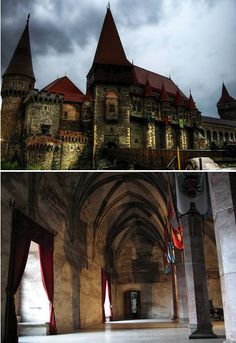 Hunyad Castle: Located in Hunedoara, Romania, Built over the site of an older fortification on a rock above the small river Zlasti. The castle was restored between 1446 and 1453. It became a sumptuous home in addition to it's role as a strategically advantageous stronghold. It was part of the Principality of Transylvania, and it's believed to be the place where Vlad III of Wallachia (commonly known as Dracula) was held prisoner for 7 years after he was deposed in 1462.