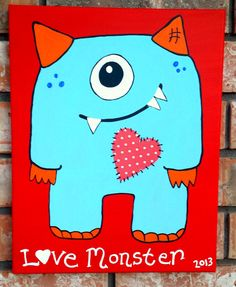 Monster Nursery Art Monster Canvas Children's by Wall Candy by Jackie - www.wallcandybyjackie.etsy.com
