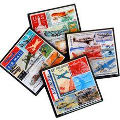 Aviation Coaster Set, Postage Stamp Drink Coasters, Aviation Art, Stamp Art, Travel Gifts, Travel Decor, Aviation Home Decor, Hostess Gift