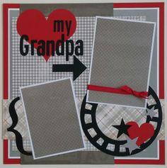 Love My Grandpa * Grandfather * premade scrapbook layout page Ohioscrapper