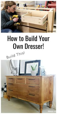 furniture diy This tutorial walks you through how to build your own DIY dresser perfect for a bedroom, or use as a console table as well! Its made using vanity legs for a little extra detail and the pocket hole joinery makes it an easy build to assemble.