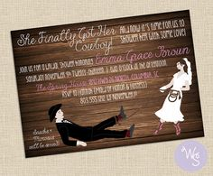 """Bridal Shower Invitations """"Got Her Cowboy"""" Collection - Printable File Only - Cowgirl Shower Invitiation; Cowboy & Cowgirl; Country Girl"""
