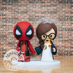 Deadpool Groom and Harry Potter Gryffindor Bride Custom Made Figurine Wedding Cake Topper