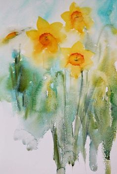 Watercolours With Life: Learning From Life loose daffodils Easy Watercolor, Watercolor Cards, Abstract Watercolor, Watercolour Painting, Watercolor Flowers, Painting & Drawing, Watercolours, Watercolor Galaxy, Galaxy Painting