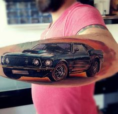 Cool and retro Ford Mustang done on guy's forearm. Ford Tattoo, Mustang Tattoo, Cat Tattoo, Tattoo Art, Flame Tattoos, Arm Tattoos, Cool Tattoos, Tatoos, Awesome Tattoos