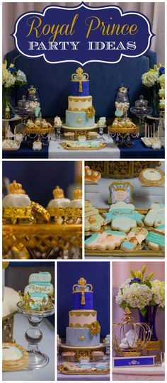 A royal prince baby shower in blue and gold with amazing decorations and treats! See more party planning ideas at CatchMyParty.com!