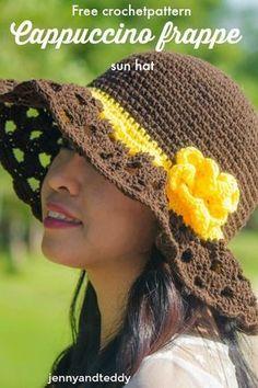 free crochet sun hat with wide brim cappuccino frappe sun hat tutorial Crochet Hat With Brim, Crochet Summer Hats, Crochet Beanie, Knitted Hats, Crochet Hats, Summer Knitting, Free Knitting, Free Crochet, Knit Crochet
