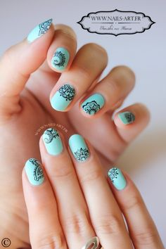 Nail art designs and ideas for different types of nails like, long nails, short nails, and medium nails. Check out more all Nail art designs here. Lace Nail Art, Lace Nails, Henna Nails, Pretty Nail Art, Beautiful Nail Art, Nail Manicure, Diy Nails, Simple Nail Art Designs, Nail Designs