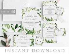 Leaves Wedding Invitation INSTANT DOWNLOAD, Editable PDF Rush Order, Green Wedding Invite, Rustic Invite - Woodland