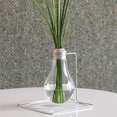 flower vase with recycled  light bulb