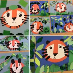 2nd grade tigers in the jungle collage Art with Mr. Giannetto blog