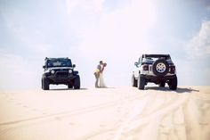 would be cute as an engagement picture  each pulling up in their jeeps