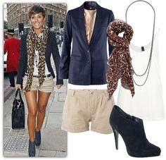 tan shorts, white tank, blazer, leopard scarf, ankle booties, frankie sandford