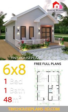 Studio House Plans Gable Roof – Tiny House Plans Studio House Plans Gable Roof – Tiny House Plans Image Size: 640 x Small House Floor Plans, Simple House Plans, My House Plans, Cottage House Plans, Bedroom House Plans, Backyard Cottage, Bungalow House Design, Small House Design, House Construction Plan