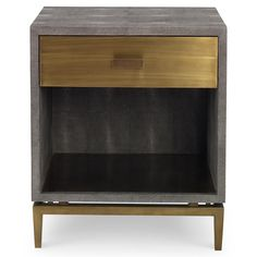 Craig Modern Classic Charcoal Faux Shagreen Brass Nightstand | Kathy Kuo Home