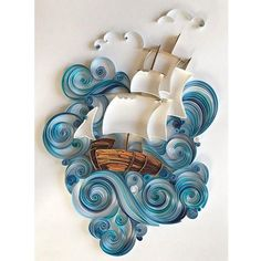Original 3D wall art was made in the quilling technique. Unique paper art is perfect gift for men, wonderful gift for daddy or husband! Also Quilled sea and paper ship will be unusual gift for any occasion! And such a gift can impress and amaze.Quilling is a painstaking and difficult