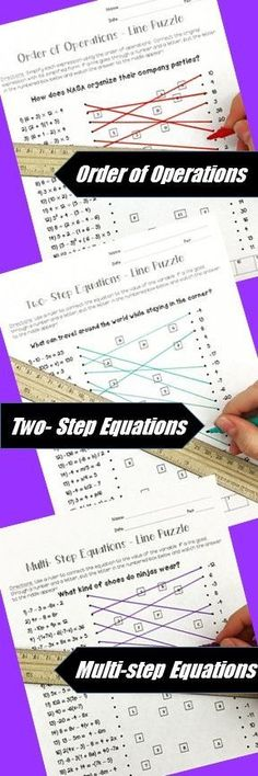 Algebra Line Puzzle Activities for middle and high school students.