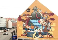 Wonderful Street Murals Featuring Strange, Colorful Hybrid Creatures - DesignTAXI.com