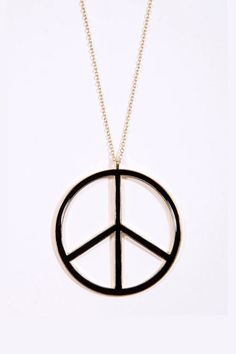 Enamel Peace Sign Necklace - Urban Outfitters