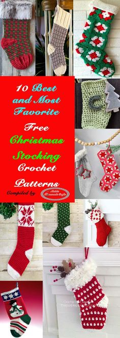 Crochet Gift Patterns 10 Best and Most favorite Christmas Stocking Free Corchet Patterns by Nicki's Homemade Crafts Crochet Christmas Stocking Pattern, Crochet Stocking, Crochet Gifts, Crochet Christmas Stockings, Knitting Blogs, Free Knitting, Knitting Ideas, Crochet For Kids, Free Crochet