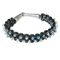 Black leather bracelet with blue and clear Swarovski crystal