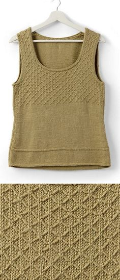 Free Knitting Pattern for an Easy Women's Tank Top - Free Knitting Pattern for an Easy Women's Tank Top Free knitting pattern for an easy tank top with a slip stitch design. This slip stitch looks intric. Free Knitting Patterns For Women, Vintage Crochet Patterns, Christmas Knitting Patterns, Vintage Knitting, Easy Knitting, Knitting Tutorials, Loom Knitting, Vogue Knitting, How To Purl Knit