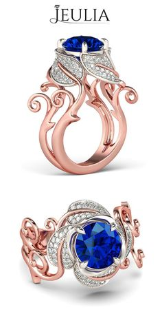 Baroque Style Cirrus Solid Crown Rose Gold 2-tone Round Cut Sapphire Rhodium Plating Sterling Silver Women's Ring / Cocktail Ring #jeulia