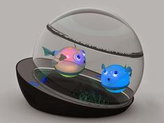 If you like the idea of a small colorful creature swimming around, but don't want to deal with the care, then the Capsule could be what you're looking for.  A high-tech aquarium holds robotic fish that feed off wireless power, glow, and swim about in a sealed tank.