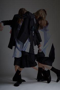 Vintage Men's Bottega Veneta Jacket, Issey Miyake Shirt and Jil Sander Shorts. Designer Clothing Dark Minimal Street Style Fashion