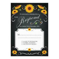 Sunflower Floral Chalkboard Vintage Wedding RSVP Template