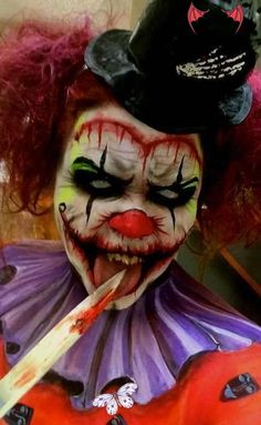 Scary clown makeup Hot halloween costumes Vintage carnival Vintage halloween photos Clown makeup Circus theme Vintage circus party Body art Tattoos Masks Fairy art Gothic fairy Masquerade masks Faeries Venetian masks Eye art Clowns Lowbrow art<br> Scary Clown Face, Scary Clown Costume, Scary Clown Makeup, Creepy Halloween Makeup, Cute Clown, Clown Faces, Scary Mask, Clown Halloween, Scary Scarecrow