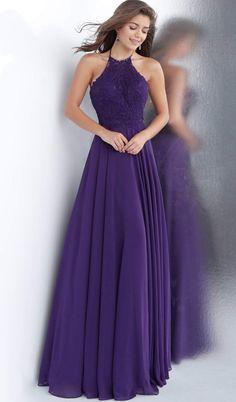 Jovani - Embroidered Halter Neck A-line Dress Dark Purple Bridesmaid Dresses, Lavender Prom Dresses, Dark Purple Dresses, Grey Prom Dress, Pretty Prom Dresses, Purple Dress Wedding, Bridesmaids, Wearing Purple, Fitted Bodice