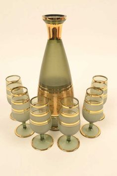 Bohemia Glass 7 Piece Smoked Glass Wine Set : Lot 142